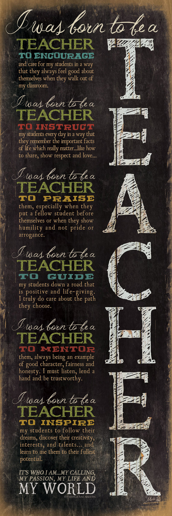 i was born to be a teacher poster